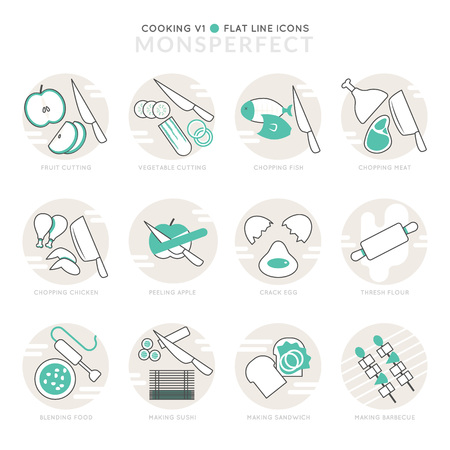 thresh: Infographic Icons Elements about Cooking. Flat Thin Line Icons Set Pictogram for Website and Mobile Application Graphics. Illustration