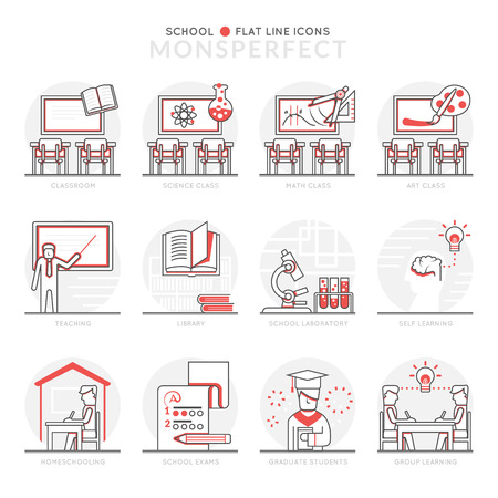 homeschooling: Infographic Icons Elements about School. Flat Thin Line Icons Set Pictogram for Website and Mobile Application Graphics.