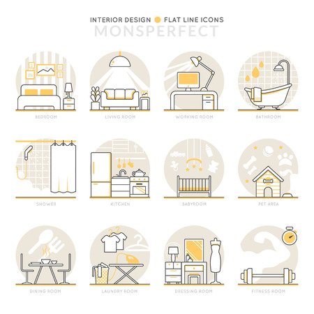 babyroom: Infographic Icons Elements about Interior Design. Flat Thin Line Icons Set Pictogram for Website and Mobile Application Graphics.