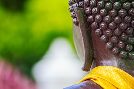 worshiped: The back of the Buddha is worshiped by many people.
