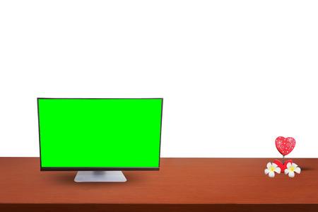whitebackground: computer on table and  whitebackground Stock Photo