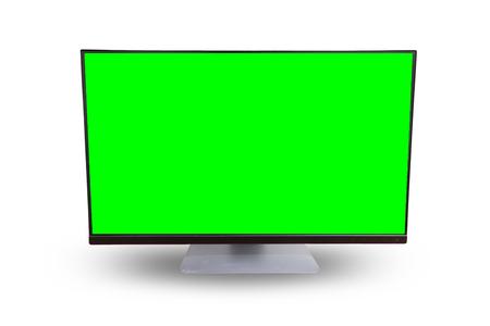 whitebackground: computer greensceen on whitebackground Stock Photo