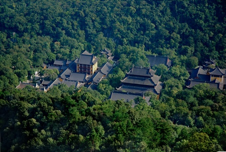recluse: aerial view of chinese pagodas Stock Photo
