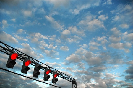 set of red trafic lights
