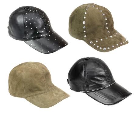 four caps isolated on white photo