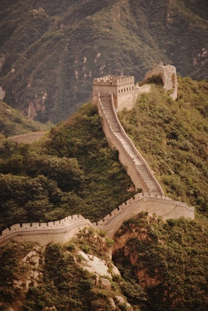 green wall: chinese Great Wall Stock Photo