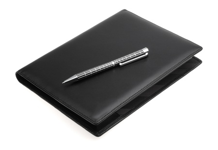 black leather datebook isolated on white