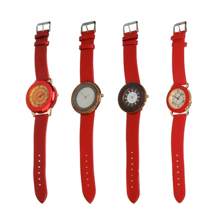 four red different style watches photo