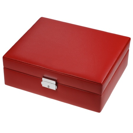 red leather box isolated on white Stock Photo