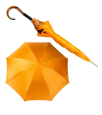 two views of yellow umbrella isolated on white