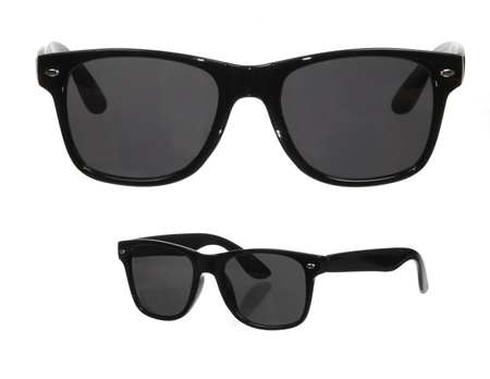 two viewpoints of classic sunglasses isolated on white