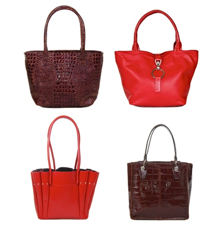 set of brown and red leather female bags isolated on white