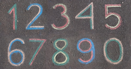numbers drawn on asphalt with chalk photo