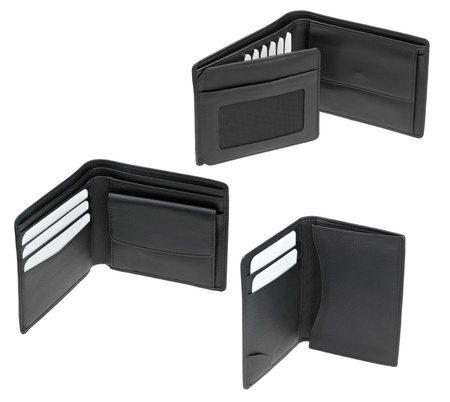 set of black leather mens wallets photo