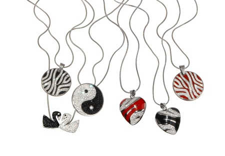 colorful pendants isolated on white