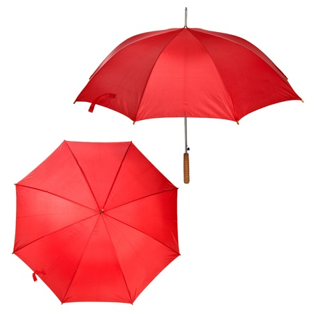 two views of large red umbrella isolated on white photo