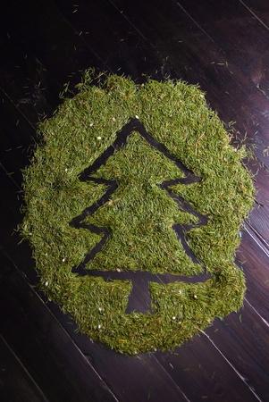 abstract image of Christmas tree made of fir needles