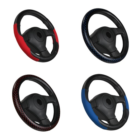 set of black and red steering wheels isolated on the white photo
