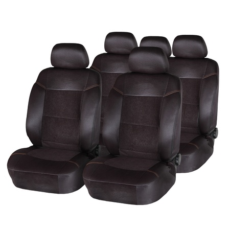 Brown leather car seats isolated on white Stock Photo
