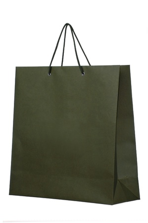 dark shopping paper bag isolated on white photo