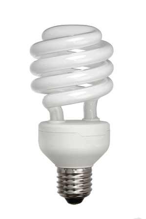 florescent light: energy efficient light bulb isolated on white Stock Photo