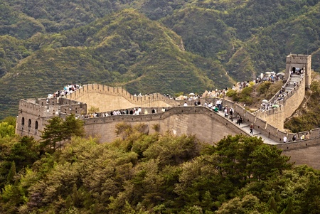 Great Wall of China an people on it photo