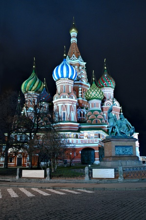 illuminated St. Basil Cathedral on Red square, Moscow, Russia