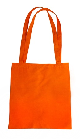 small orange cotton bag isolated on white