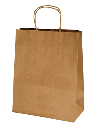 kraft shopping paper bag isolated on white photo