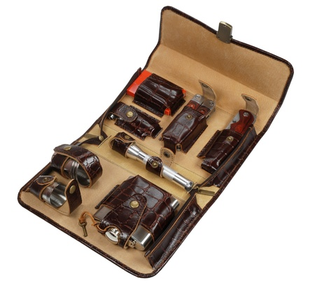 luxury travel kit in brown leather case photo