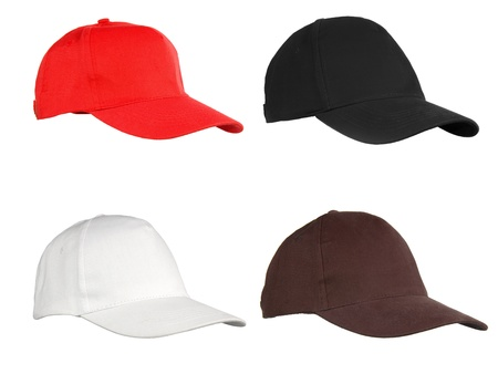 Four caps isolated on white. Red, black, white and brown. photo