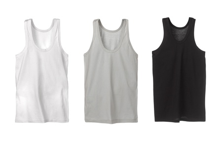 tank top: Three sport tank tops. White, grey and black. Stock Photo