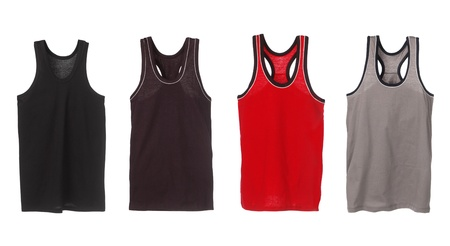 Four sport tank tops. Black, brown, red and grey. photo