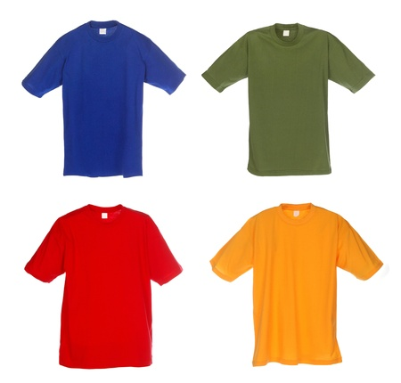 Photograph of four blank t-shirts, blue, green, red and yellow