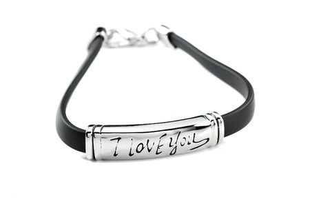 Black rubber bracelet with metal element and inscription I love you photo