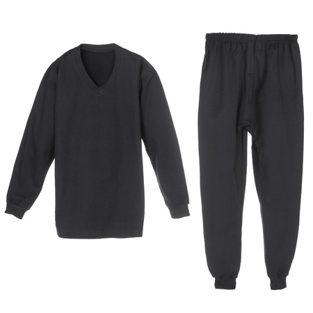 long sleeves: set of warm winter black underwear for men