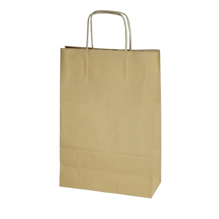 yellow paper shopping bag isolated on white photo