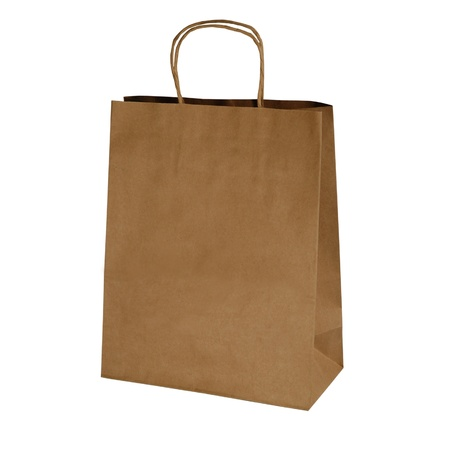 kraft shopping bag isolated on white photo