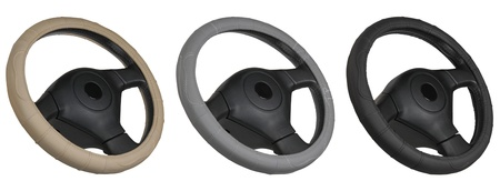 set of steering wheels isolated on the white photo