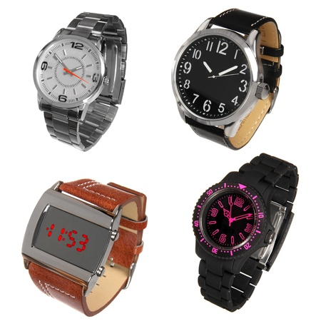 set of different wrist watches isolated on white Stock Photo