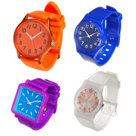 colorful set of wrist watches isolated on white photo