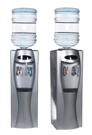 Metallic water cooler isolated on white Stock Photo