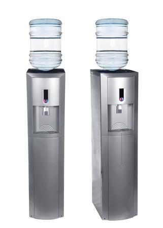 agua purificada: Enfriador de agua gris aislado en blanco