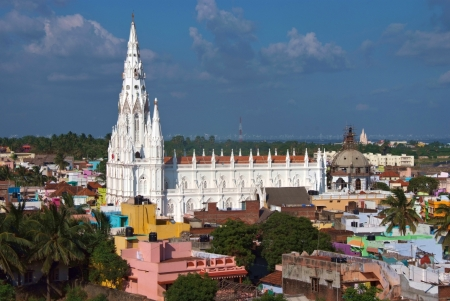 view of white gothic cathedral in Kanyakumari, India