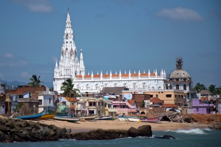 sea view of white gothic cathedral in Kanyakumari, India Stock Photo