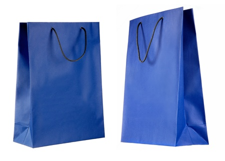 two views of blue paper bag isolated on white photo