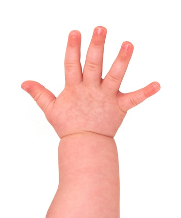 Closeup of baby hand isolated on white