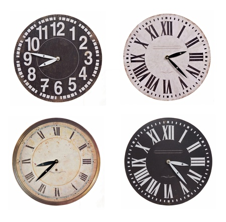 set of vintage round clocks isolated on white