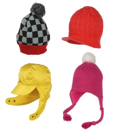 pompon: different winter hats isolated on white