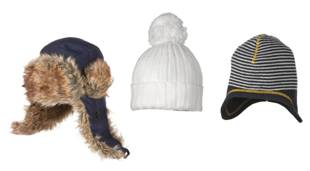 set of different winter hats isolated on white Imagens